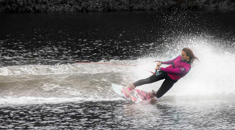 Wake Boarding Girl in Pink